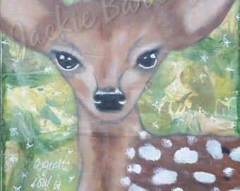 Deer Art, Kids Room, Nursery, Forest Animal, Gentle Soul, Spiritual Gift, Inner Child Art, Mixed Media, Courage and Art, Jackie Barragan