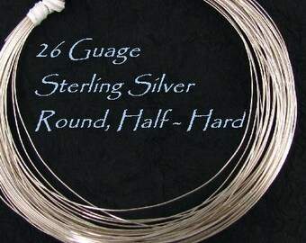 26 Gauge Sterling Silver Round Wire - Half Hard - 20 Ft Oakhill Silver Supply - HH26S20