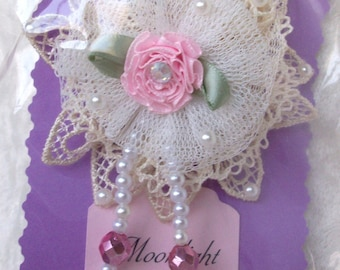 ivory lace & tulle flower pin pink