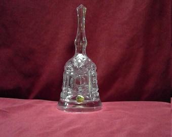 Vintage 1980s Royal Crystal Rock Large Leaded Crystal Bell w Stsrburst Design