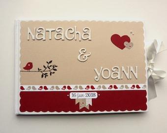 Livre d'or personnalisable pour mariage/anniversaire, thème nature/oiseaux intérieur décoré