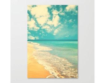 Beach photography, extra large wall art, beach canvas art, beach print, beach prints, pink, beach umbrella wall art canvas