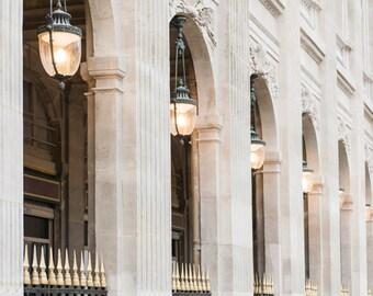 Paris Photography - Columns at the Palais Royal, Paris Architecture, Neutral Decor, Large Wall Art, French Home Decor