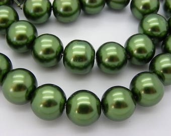 15 pearls 14 mm glass Pearl green mother of Pearl