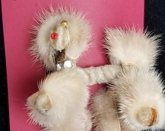 Brooch- 1940's fur baby- poodle