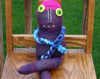 Creepy Weird Strange Sock Monster Doll , handmade sock doll named Bonnie