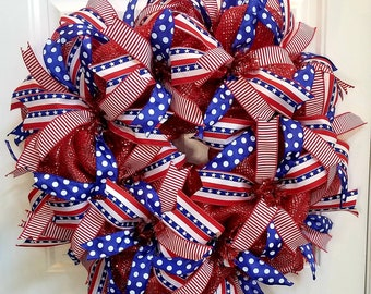 Patriotic Wreath, Red White and Blue Wreath, Fourth of July Wreath, 4th of July Wreath, Memorial Day Wreath, Fireworks Wreath