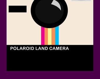 Purple Polaroid Camera Print