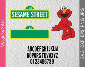 Sesame Street Sign and Blank Sign, Elmo, with font 36 SVG