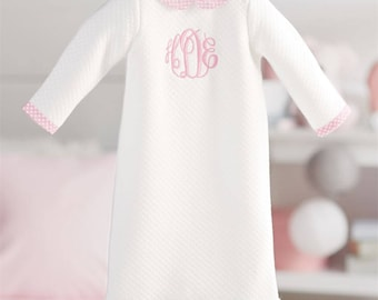 Monogrammed sweatshirt toddler sweater girls monogram shirt baby girl coming home outfit monogrammed gown quilted gown newborn monogram outfit negle Images