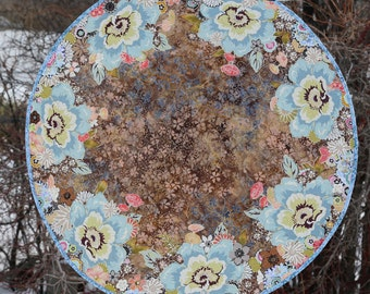MarveLes COUNTRY BLUE Reversible Floral Large Round Custom Quilted Table Topper Runner Brown Coral Tan