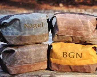 Men's Monogrammed Toiletry Bag, Monogrammed Fathers Day Gift, Fathers Day Gift, personalized groomsmen gifts, Waxed Canvas Toiletry, MT03