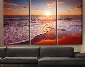 "Huge 3 Panels framed 1.5"" depth Art Canvas Print beautiful sunset scenery sea sky clouds beach waves Wall home office decor interior"