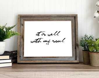 It is well with my soul print | Cursive Christian art printable quote | Hymn lyrics instant download