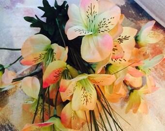 Yellow Green Peach Pink alstroemeria Unique Prom Wedding Wrap Bouquet Flower Arrangement