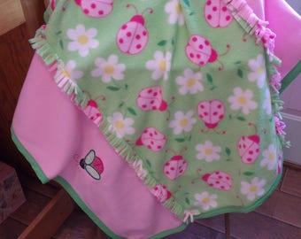Lime & Pink Ladybug fleece baby blanket