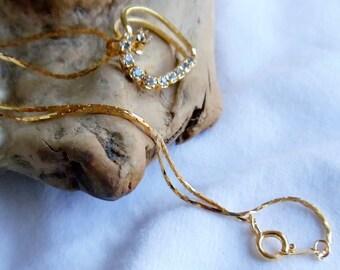Vintage Open Heart Rhinestone Pendant Necklace, Cobra Chain Gold Tone Heart Necklace, Heart Pendant Necklace, Valentine's Necklace, 1994