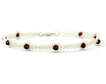 White Ankle Bracelet - Burgundy Crystal Anklet - Seed Bead Summer Jewelry - Beach Anklet - Foot Jewelry - Chain Anklet