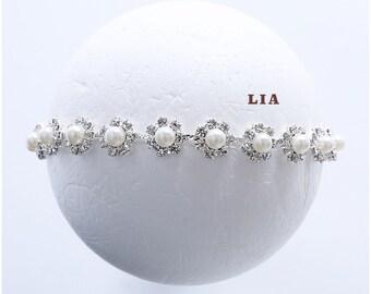 Lia | Newborn Stone Headband, Newborn photo prop, Baby photo prop, Newborn tieback