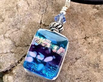Pretty Translucent Dichroic Glass Pendant Necklace Small Wire wrapped