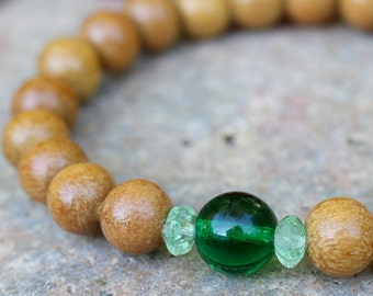 Nangka Wood Wrist Mala Bracelet w Green Czech Glass - Yoga & Buddhist Bracelet