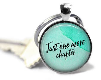 One More Chapter Keychain, Literary Necklace, Literary Gift, English Teacher Gift