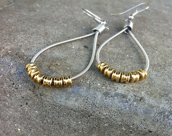Recycled Guitar Strings - Restored Guitar String Teardrop Earrings