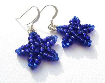 Star Earrings, Bright Shiny Dark Blue, Seed Bead Earrings, Sterling Silver Wires