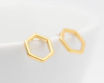 Gilded Hexagon Earrings