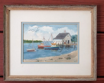 New England Watercolor painting of harbor