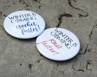 Game of Thrones Knitting and Crochet Button Badge