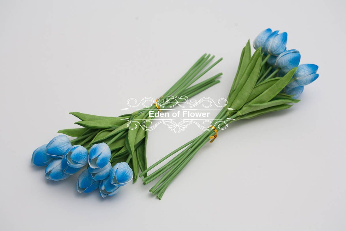 Real Touch Royal Blue Tulip Bouquets for Bridal Bouquets Wedding ...