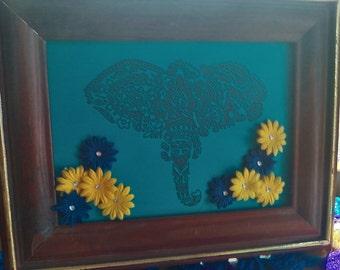 Elephant Henna Framed paper art