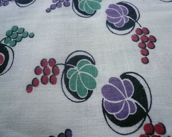 Antique Feed Sack Fabric Green, Red, Purple Print on White Background  35 by 42