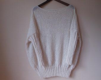 Oversized Plus Size Hand Knit Sweater Tunic Loose Knit Women's Sweater Ivory