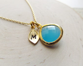 Birthstone Necklace Initial, Gold Birthstone, Bridesmaid Gift, Personalized Necklace, Gold Personalized Jewelry, New Mom, You Choose Color