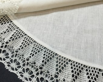 Linen Tablecloth Oval Linen Lace Ivory