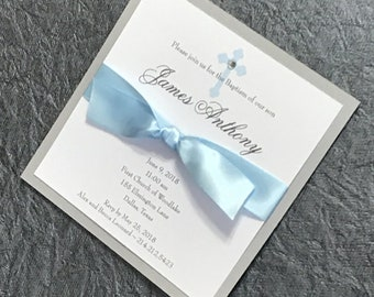 Boy Communion Invitation Boy First Communion - Real Ribbon & Shimmer Back