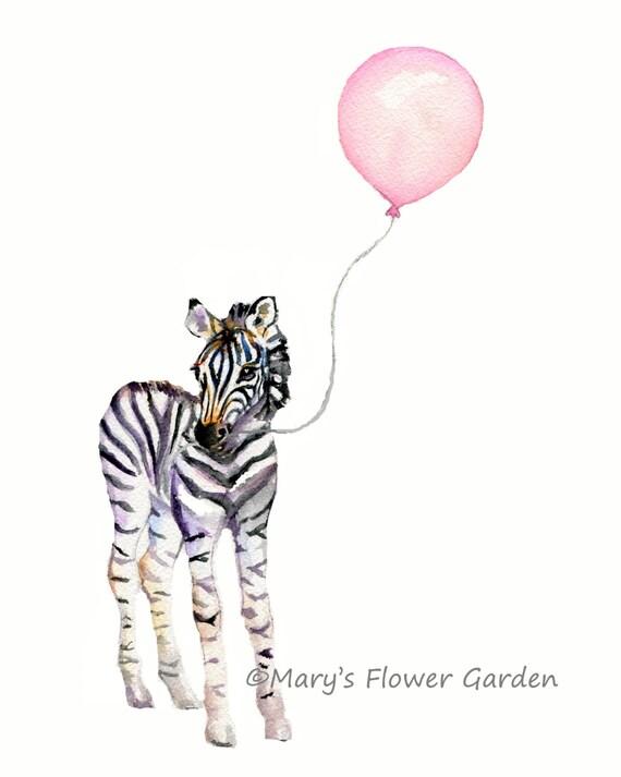 Baby Girl Gift Zebra And Pink Balloon Girls Room Decor Baby