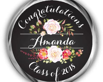 Floral Graduation Hershey Kisses Stickers - Personalized Graduation Sticker