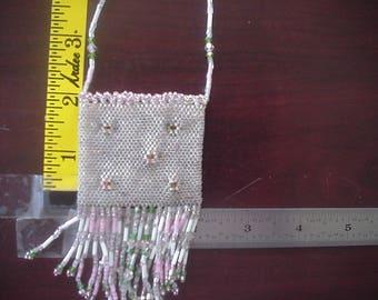 Hand Beaded Treasure Bag - Pink Flowers on Crystal Rainbow