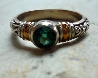 Sterling Silver and Rose Gold Ring, Green Qz Ring, two tones ring, Silver Gemstone Ring, Silver Gold Ring, Mixed Metal Ring RC676 5GQ