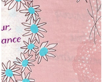 Sale (30) HALF YARD Lecien - Atelier Akiko - Bonjour Paris in Blush/Beige 31095-10 - Floral, Daisy, Wreath Japanese Imported Fabric