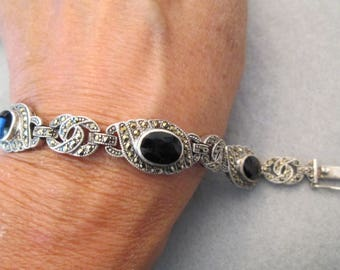 """SALE>> Vintage Sterling, Black Onyx & Marcasite Link Bracelet>> Exquisite>>New old stock, never worn>> 7"""" long> well made"""