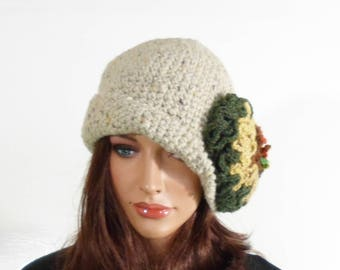 Crochet Cloche Hat with Large Flower - Beige/Grey