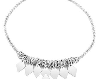 Desire Sterling Silver Diamond Statement Necklace (short)