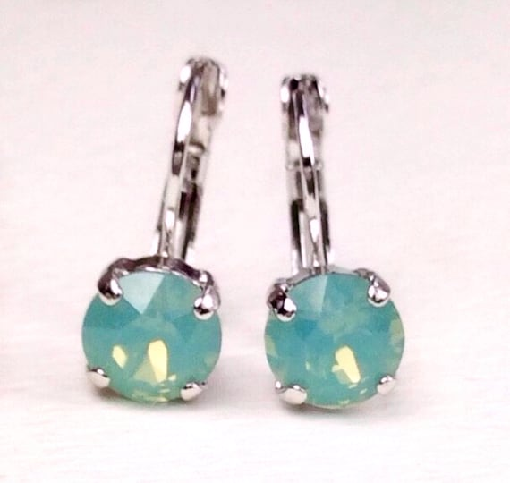 Swarovski Crystal 8.5mm Lever- Back Drop Earrings - Classy - Pacific Opal - OR Choose Your Favorite Color and Finish -  FREE SHIPPING