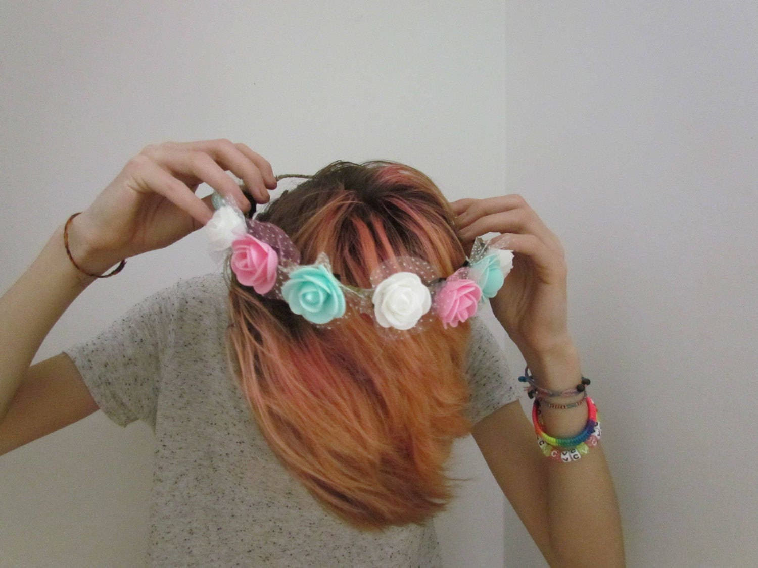 Rainbow flower crown tumblr aesthetic green white and pink zoom izmirmasajfo Image collections