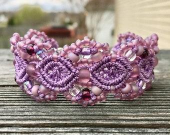 SALE Micro-Macrame Beaded Cuff Bracelet - Orchid