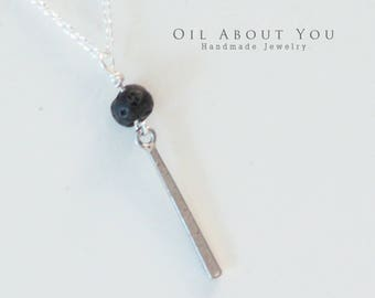 Essential Oil Diffuser Necklace Layered Layer Aromatherapy Silver Chain Lava Stone Rock Pendant Gift for her